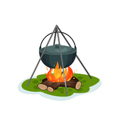 camping pot over bonfire delicious fish soup vector image