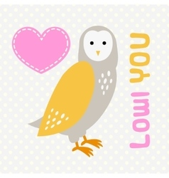 Card with cute cartoon owl and heart vector image