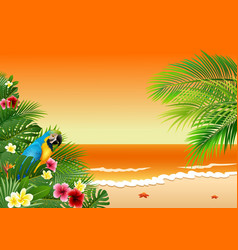 card with tropical beach tropical plants and parr vector image