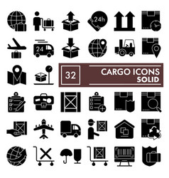 cargo glyph icon set delivery symbols collection vector image