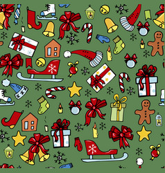 christmas toys sledges gifts vector image