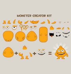 Collection of cute cartoon monster and vector