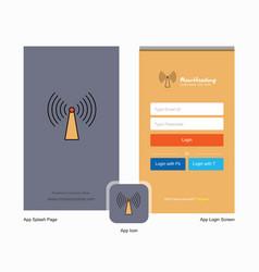 Company wifi splash screen and login page design vector