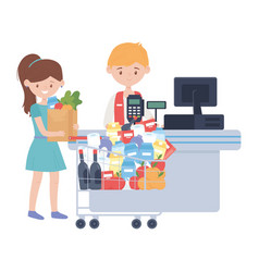 Counter with cash register seller and woman vector