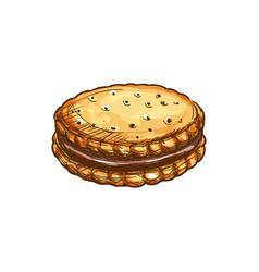 Crispy cookie with chocolate glaze icon vector