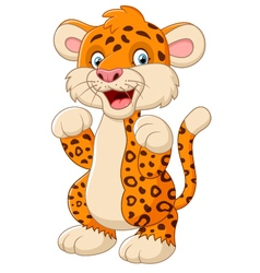 Cute cartoon leopard waving hand vector