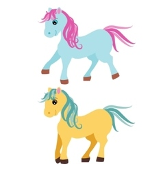 Cute cartoon pony little horses isolated on white vector