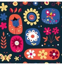 Cute flowers seamless pattern 2 vector