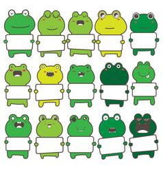Cute frog holding a billboard design set vector