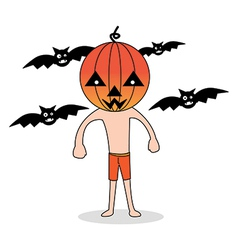 Cute Halloween character Pumpkin vector