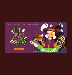 cute little halloween girl witchs with broom vector image