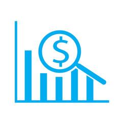 Dollar analysis bars chart on white background vector