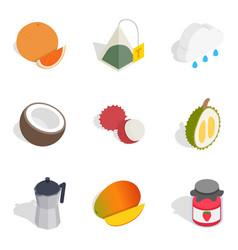 Evening tea icons set isometric style vector
