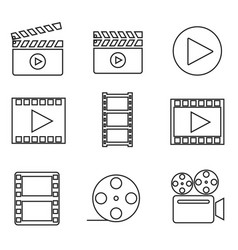 filmmaking equipment linear icons set vector image