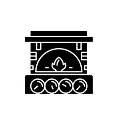 Fireplace brick black icon sign on vector