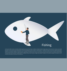 Fisherman with fish on background icon vector