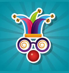 Funny silly glasses red nose and hat jester vector