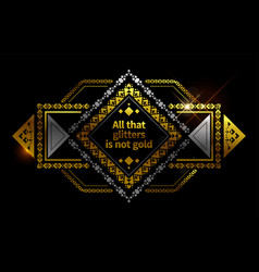 gold ethnic frame background vector image