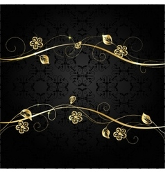 Gold frame on dark background vector image