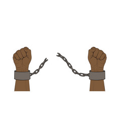 Hands with broken chain vector