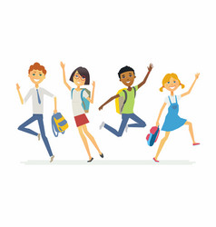 Happy jumping schoolchildren - cartoon people vector