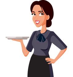 Happy waitress holding a tray vector