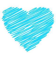 heart blue hand drawn sketch vector image