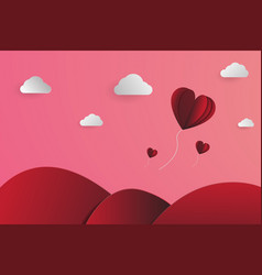 heart-shape balloons papercut in the sky vector image