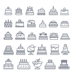 holiday dessert cake isolated outline icons vector image