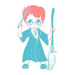 icon of a wizard boy vector image