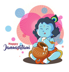 In the poster little krishna eating curd from pots vector