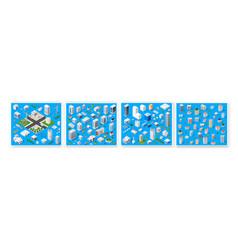 isometric set 3d module block district part vector image