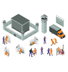 Jail isometric icons set vector