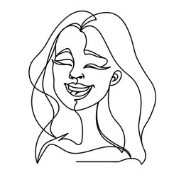 laughing woman one line art facial expression vector image