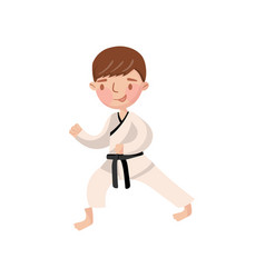 little boy wearing kimono karate training kids vector image