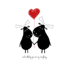 Love card with couple of moose vector