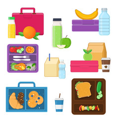 Lunch boxes set with vegetables fruits snacks vector