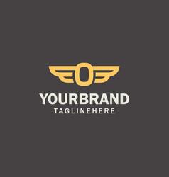 luxury initial letter o inside winged logo modern vector image