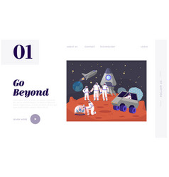 Mars colonization landing page template vector