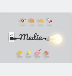 media concept with creative light bulb idea vector image