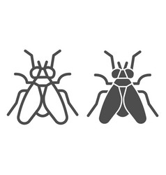Midge line and solid icon insects concept fly vector