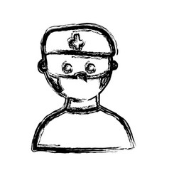 monochrome hand drawn sketch of male nurse half vector image