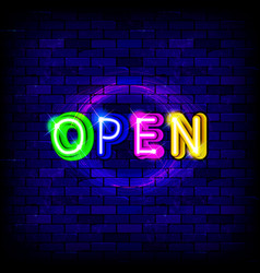 neon inscription open vector image