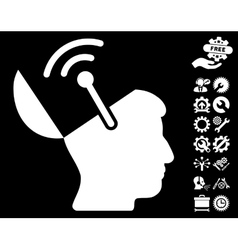Open Brain Radio Interface Icon with Tools vector