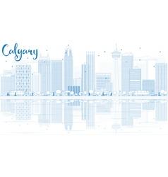 Outline Calgary Skyline with Blue Buildings vector