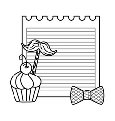 paper sheet with moustache bow tie and muffin vector image
