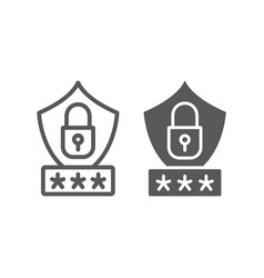 password protection line and glyph icon privacy vector image