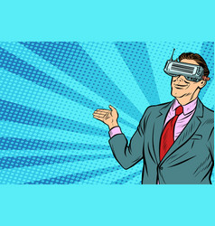 pop art businessman in vr glasses presents vector image