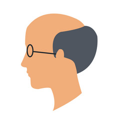 Profile head man bald glasses avatar vector