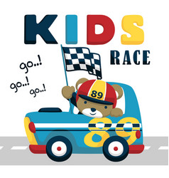 race car cartoon with funny driver vector image